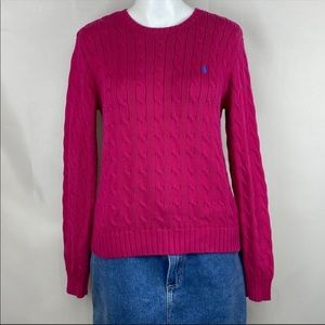 Ralph Lauren pink crew neck cable knit sweater